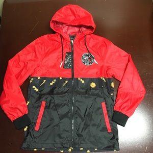 Reason clothing men's zip up windbreaker red small